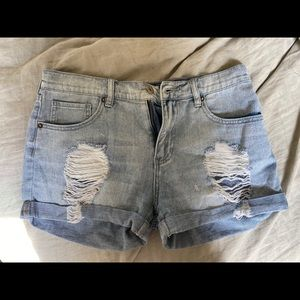 Ripped rolled shorts